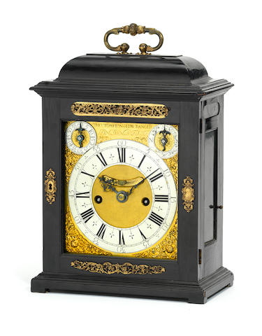 An ebony quarter repeating bracket clock Thos Tompion & Edward Banger, London