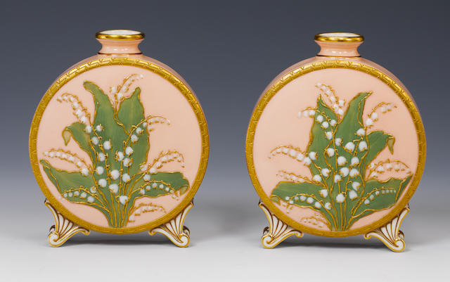 Pair of Grainger Worcester moon flasks, pale salmon ground and raised paste flowers