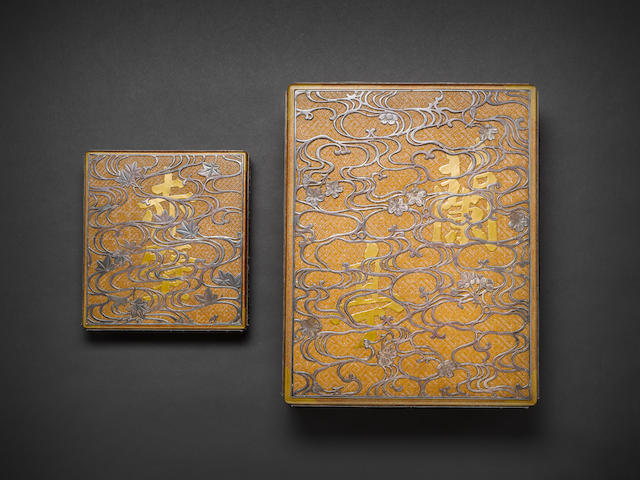 An unusual matching gold lacquer and silver-inlaid ryoshibako (document box) and suzuribako (writing box) set By Chikueido Eishin (1849-1915), Meiji Period