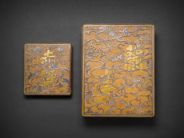 An unusual matching gold lacquer and silver-inlaid ryoshibako (document box) and suzuribako (writing box) set By Chikueido Eishin (1849-1915), Meiji Period