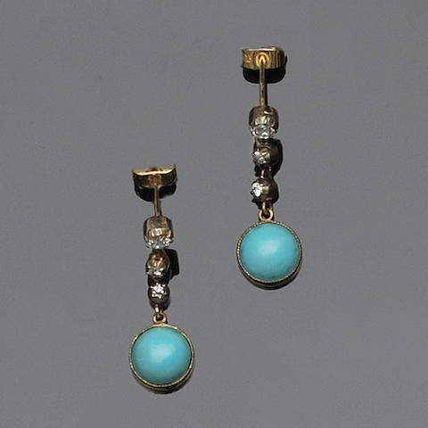 A pair of turquoise and diamond pendant earrings