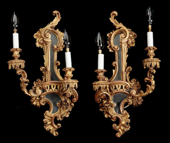 A pair giltwood Chippendale revival two light wall sconces