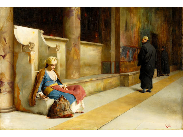 Théodore Jacques Ralli (Greek, 1852-1909) Resting in a Greek monastery 38.5 x 56 cm.