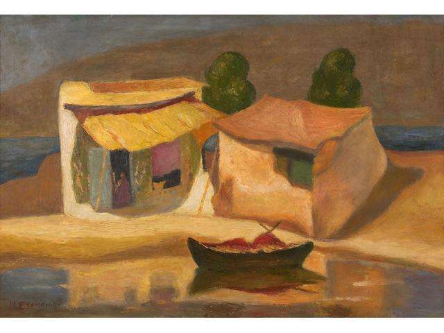 Michalis Economou (Greek, 1888-1933) Houses by the sea 34 x 50.5 cm.