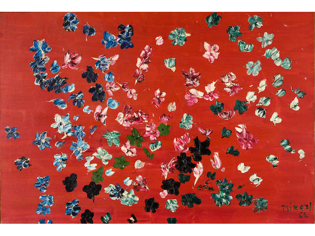 Thanos Tsingos (Greek, 1914-1965) Flowers on red background 89 x 130 cm.