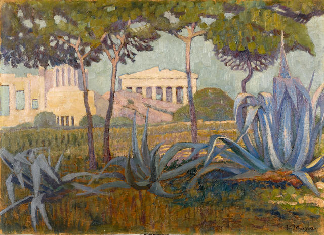 Constantinos Maleas (Greek, 1879-1928) View of the Acropolis, Athens 49 x 69 cm.