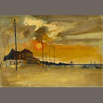 Spyros Vassiliou (Greek, 1902/3-1984) Sunset at Xylokastro 25.5 x 36 cm.
