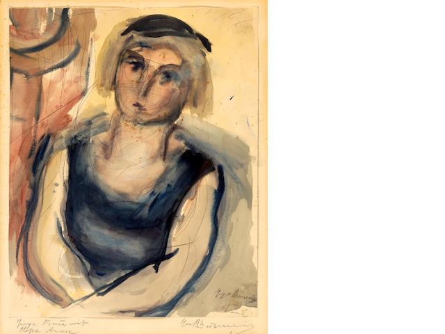 Georgios Bouzianis (Greek, 1885-1959) Junge Frau mit blosse Arme 47 x 38 cm.
