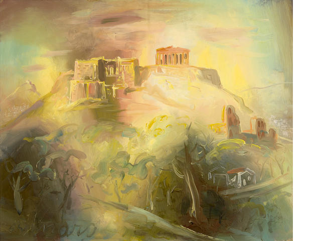 Giorgios Gounaropoulos (Greek, 1889-1977) View of the Acropolis 60 x 72 cm.