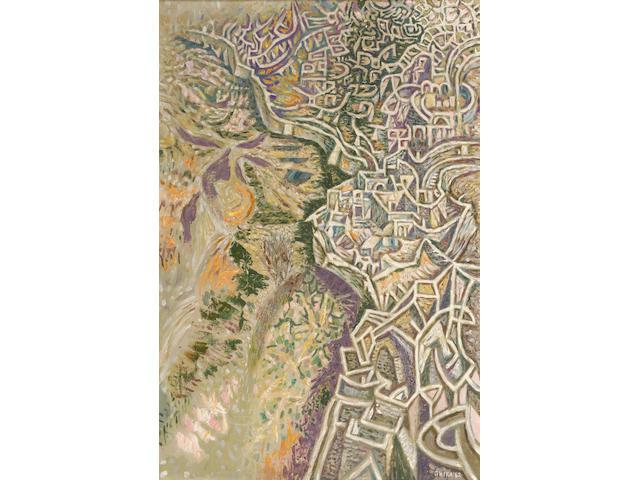 Nikos Hadjikyriakos-Ghika (Greek, 1906-1994) Calligraphy of a town 76 x 51 cm.