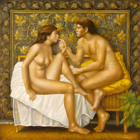 Theodoros Manolidis (Greek, born 1940) Erotic 70 x 70 cm.