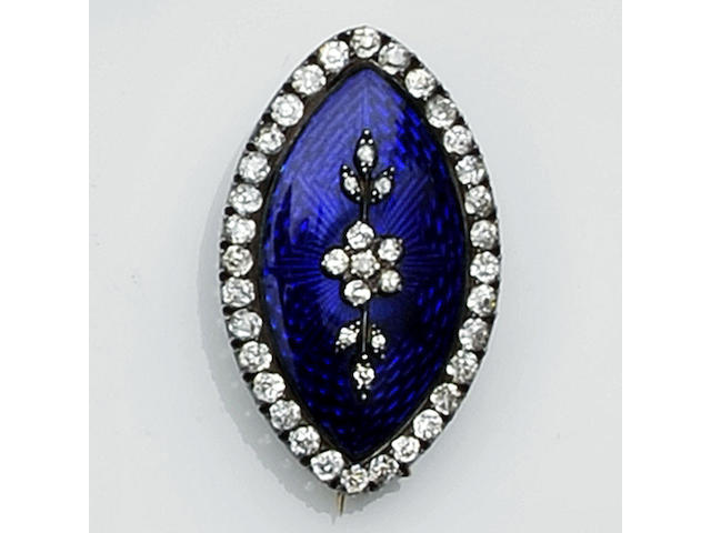 A Victorian diamond and blue enamel brooch
