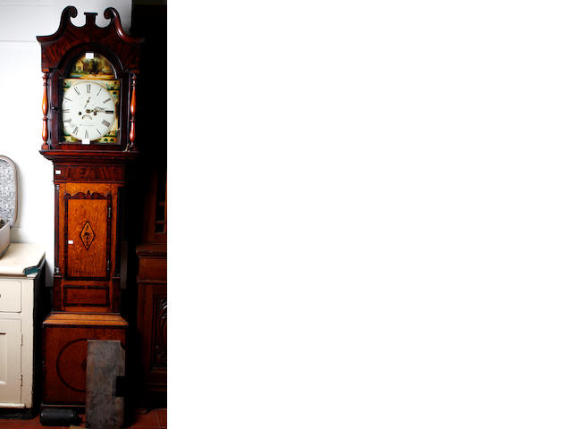 Easthope - Birmingham, an early 19th Century longcase clock, the broken arch painted dial with painted scene and spandrels, seconds subsidiary and date aperture, contained in a mahogany banded and inlaid oak case decorated with corner fluted columns, 227cm.