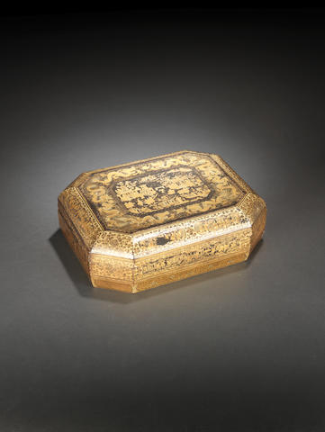 A Canton gilt and black lacquer games box and cover Circa 1850