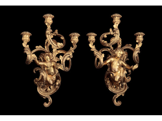 A pair of giltwood wall sconces 19th century