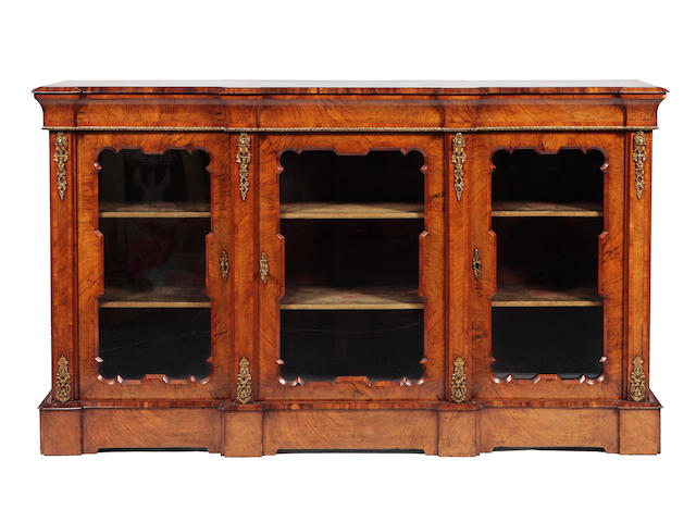 A Victorian walnut, boxwood strung and gilt-metal mounted breakfront credenza