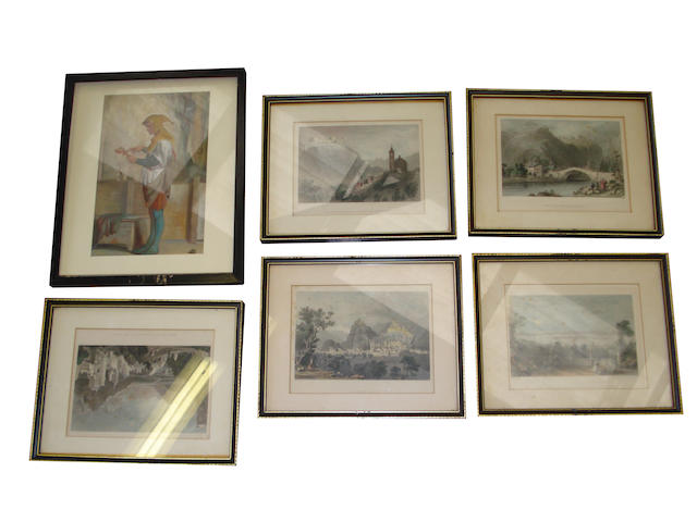 A quantity of large unframed 19th century engravings, together with six smaller framed prints, a lot.