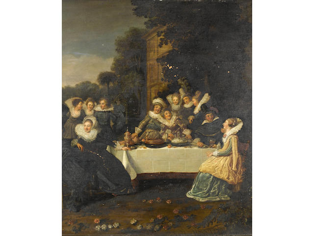 Circle of Dirck Hals (Haarlem circa 1591-1656) Elegant figures in a garden, seated at a banquet