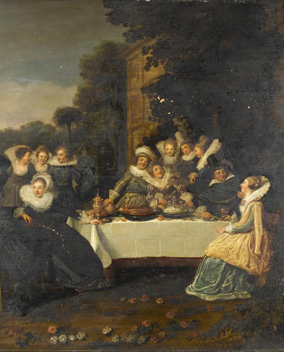 Circle of Dirck Hals (Haarlem circa 1591-1656) Elegant figures in a garden, seated at a banquet