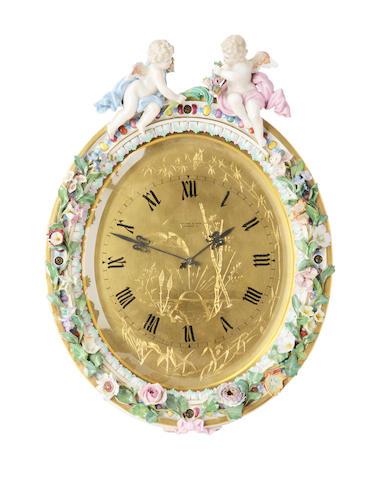 An impressive Meissen easel clock Late 19th century