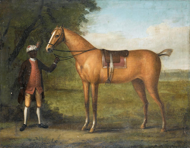 Follower of John Wootton (Snitterfield circa 1682-1764 London) A page holding a racehorse