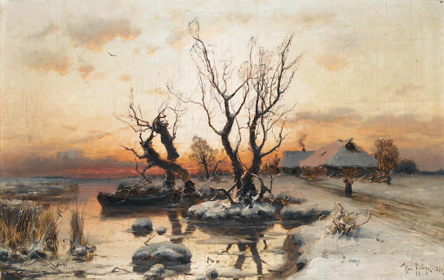 Studio of Yuli Yulievich  Klever (Russian, 1850-1924) A winter's sunset