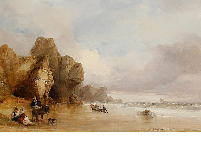 Follower of James Baker Pyne (British, 1800-1870) Figures on a beach