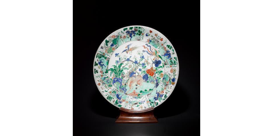 A large famille verte dish Kangxi