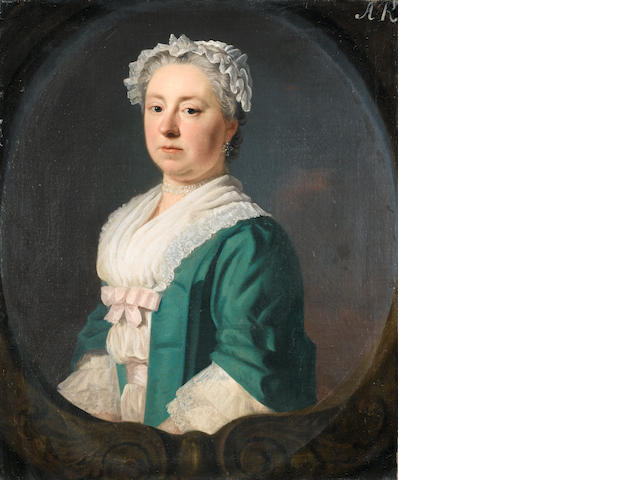Allan Ramsay (Edinburgh 1713-1784 Dover) Portrait of Sarah, fourth daughter of Cheif Baron Ward, married to Edward Medley Esq., half-length, in a blue dress with a pink bow, within a painted stone cartouche
