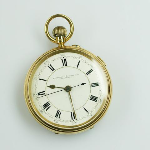 An 18ct gold keyless wind chronograph pocket watch by Fattorini & Sons Ltd, Bradford