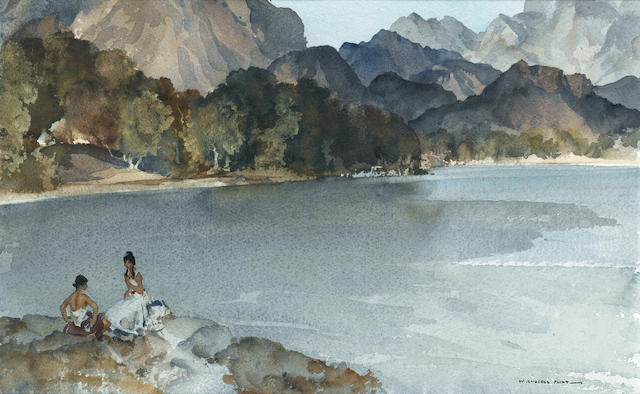 Sir William Russell Flint R.A., P.R.W.S. (British, 1880-1969) Lakeside in Arcady, Snowdonia 23.5 x 38.1 cm. (9 1/4 x 15 in.)