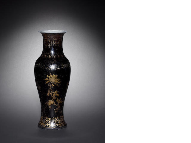 A black-glazed gilt vase Kangxi mark and of the period