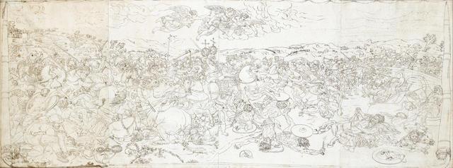 After Giulio Romano, 18th Century The Battle of Milvian Bridge 168 x 642 mm