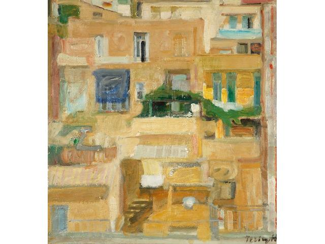 Panayiotis Tetsis (Greek, born 1925), Tetsis The view from Xenokratous street in Athens 80 x 74.5 cm.