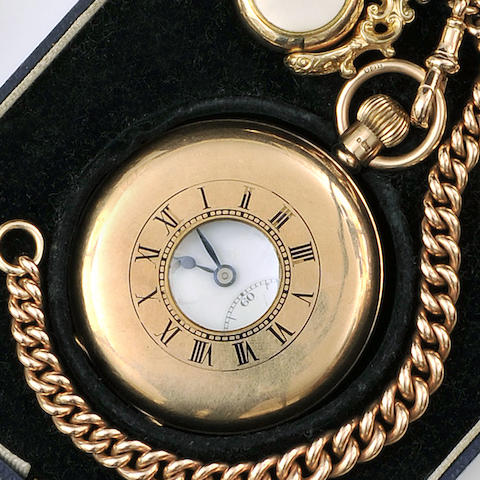 J. W. Benson: A 9ct gold half hunter pocket watch