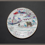 An unusual famille rose plate Qianlong
