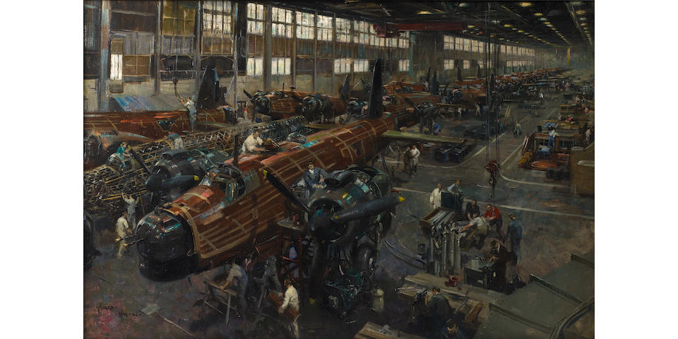 Terence Cuneo (1907-1996), 'Wellington Bomber Production Line at Brooklands',