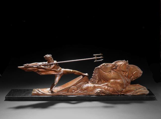 A. Bazzoni 'Poseidon' a large gilt bronze figural Group, circa 1925