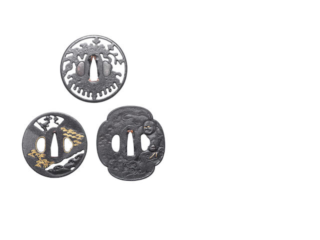 Five various iron tsuba Momoyama to Edo Period, 16th to 19th century