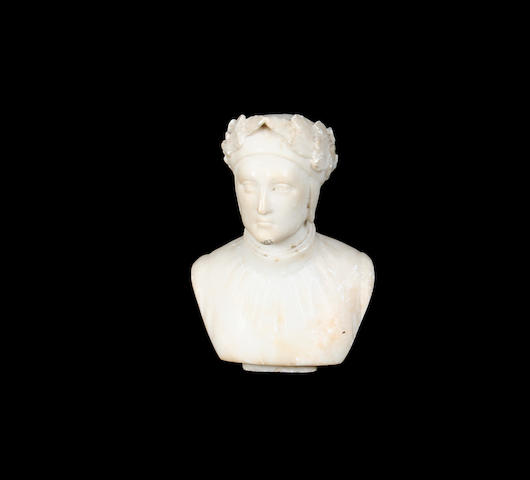 A late 19th / early 20th century Italian carved alabaster bust of Dante