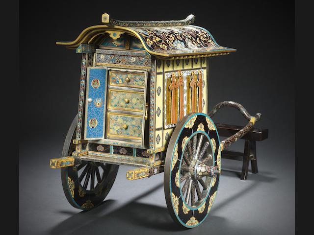 A rare, unusual and elaborately decorated cloisonné enamel goshoguruma (ox-drawn carriage) Style of Namikawa Yasuyuki, Meiji Period