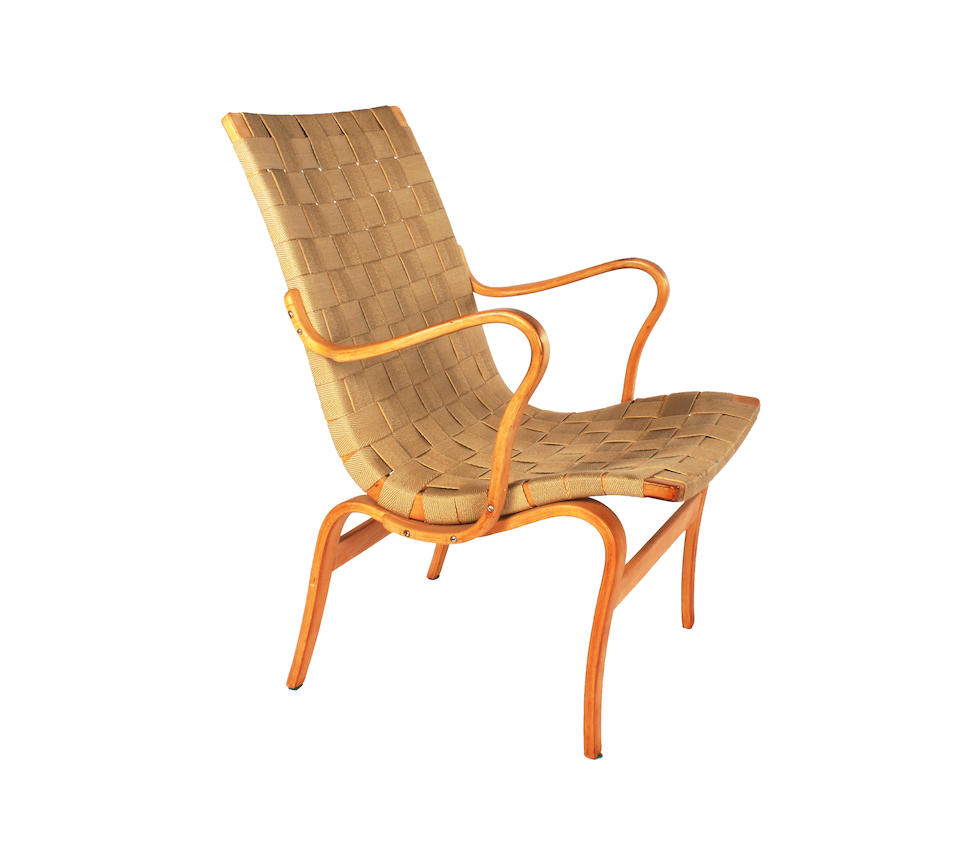 Bruno Mathsson for Karl Mathsson, a 'Work' chair and a pair of 'High Back Work' chairs, designed 1933-34 and 1941 each with birch plywood frame and webbing,