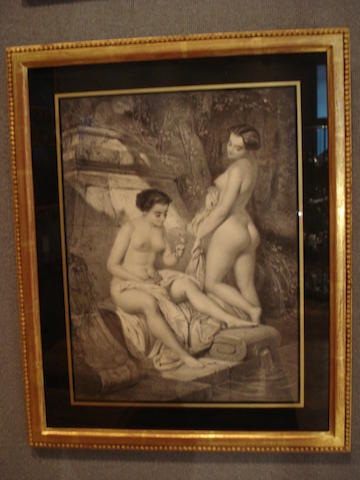 A collection of sixteen black and white prints of nudes in the 19th century style