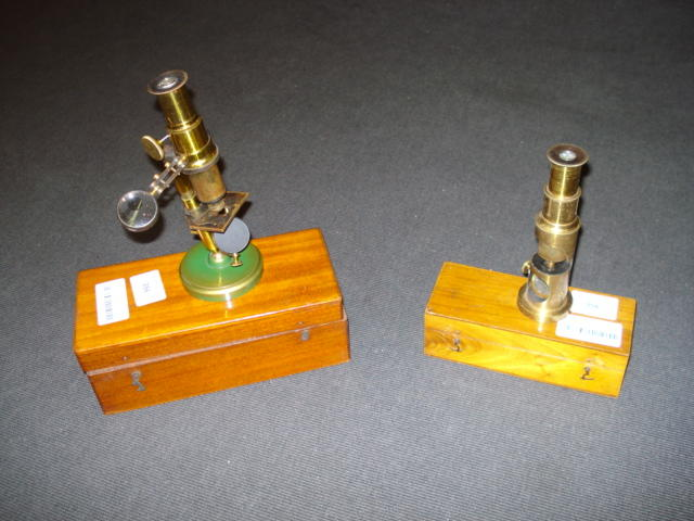 Three small compound monocular microscopes, circa 1900, (3)