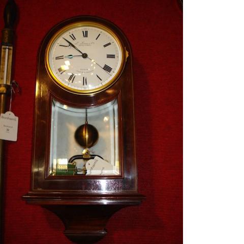 A late 19th century electrical wall clock L. Leroy, H.gers del la Marine, Paris, 7 Bould. de la Madelaine,