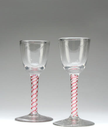 A pair of low countries colour-twist wine glasses Circa 1780