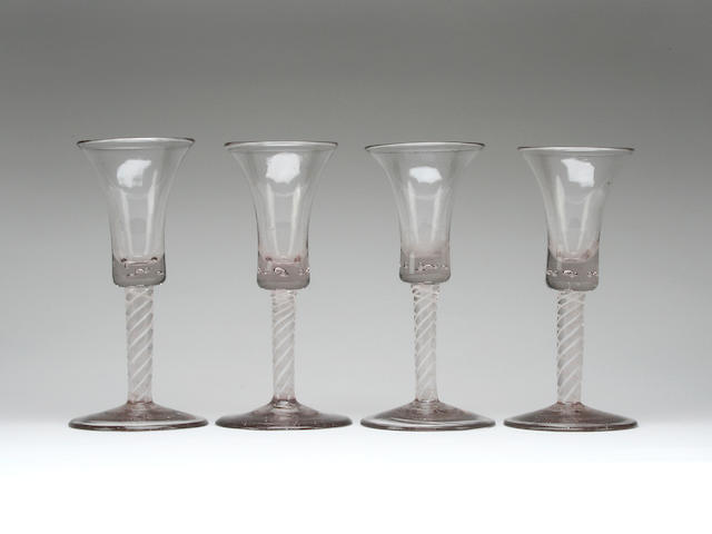 A set of four opaque twist wine glasses, probably Dutch Circa 1765