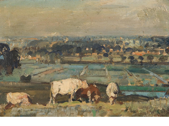 Sir John Alfred Arnesby Brown (British, 1866-1955) The hilltop near Beccles and the pair a Fenland landscape with cattle and windmill (2)