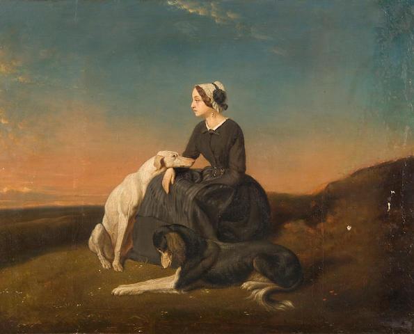 Follower of Alfred de Dreux (French, 1810-1860) Seule au rendex-vous