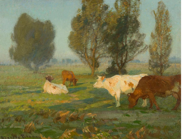 John Alfred Arnesby, Sir Brown (British, 1866-1955) Cattle grazing in water meadows